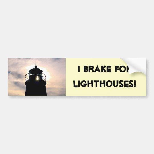 I Brake for Lighthouses Bumper Sticker