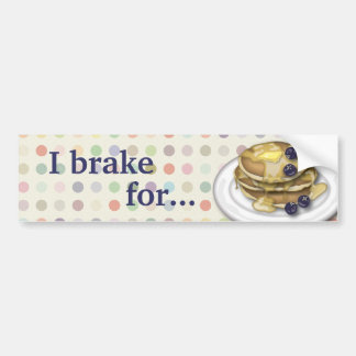 I Brake for Pancakes With Syrup And Blueberries Car Bumper Sticker