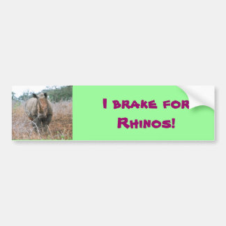 I brake for Rhinos bumper sticker