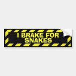 I brake for snakes yellow caution sticker bumper sticker