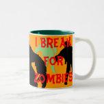 I Break for Zombies Black n Green Silhouettes Mug