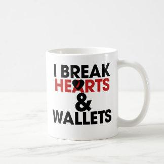 I break hearts and wallets basic white mug