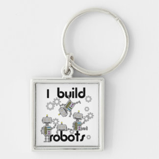 I Build Robots Silver-Colored Square Key Ring