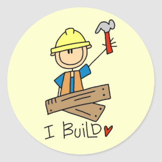 I Build Stick Figure Carpenter Tshirts Classic Round Sticker