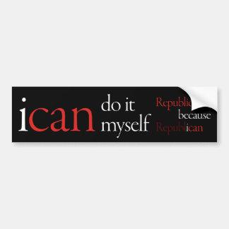 """""""i can"""" Bumpersticker Black Bumper Sticker"""