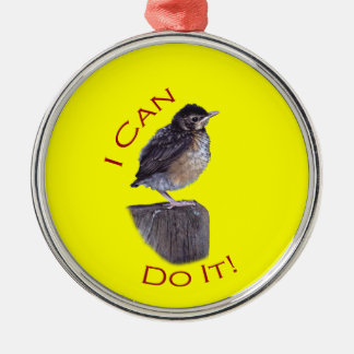 I Can Do It Silver-Colored Round Decoration