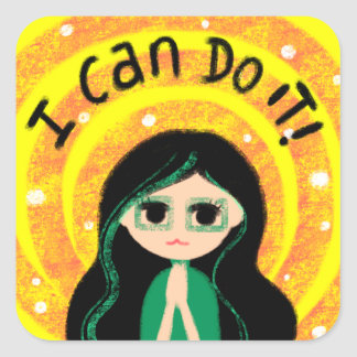 I Can Do It Uplifting Positivity Girl Painting Square Sticker