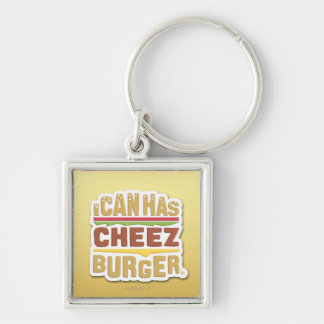 I Can Has Cheezburger (shadow) Silver-Colored Square Key Ring