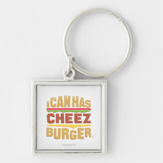 I Can Has Cheezburger Silver-Colored Square Key Ring