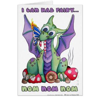 I Can Haz Fairy NOM NOM NOM cute baby dragon Greeting Card