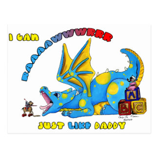 I Can RAWR just Like Daddy cute babby dragon Postcard