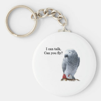 I can talk, can you fly? African Grey Basic Round Button Key Ring