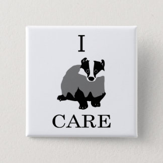 """I Care"" European Badger 15 Cm Square Badge"