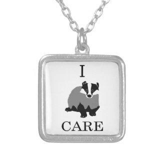 """I Care"" European Badger Square Pendant Necklace"