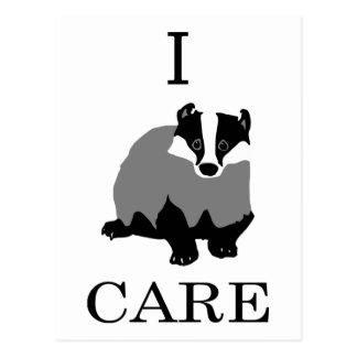 """I Care"" European Badger Postcard"