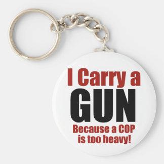 I Carry a Gun Basic Round Button Key Ring