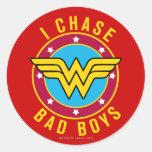 I Chase Bad Boys Round Sticker