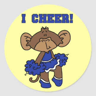 I Cheer Blue and White T-shirts and Gifts Round Sticker