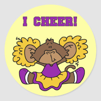 I Cheer Gold and Purple Tshirts and Gifts Round Sticker
