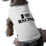 I (Chequered) Heart Racing Sleeveless Dog Shirt