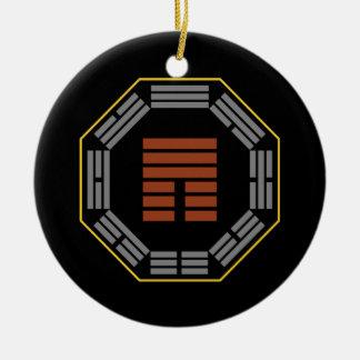 "I Ching Hexagram 12 P'i ""Obstruction"" Round Ceramic Decoration"