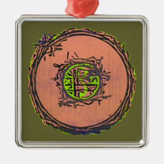 I Ching Seal Silver-Colored Square Decoration