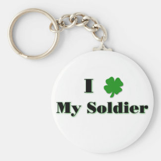 I (clover) My Soldier Keychain