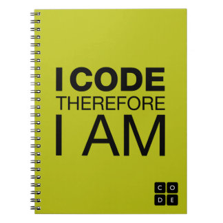 I Code Therefore I Am Spiral Notebook
