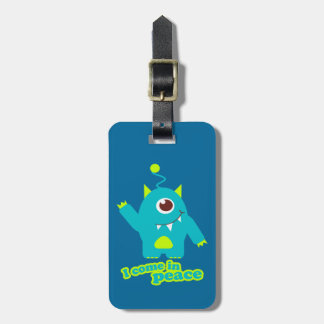 I come in peace kids fun alien id luggage tag