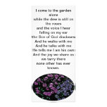 I come to the garden alone floral bookmark custom rack card