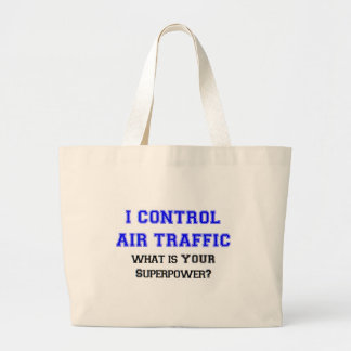I control air traffic large tote bag