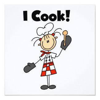 I Cook - Female Chef 13 Cm X 13 Cm Square Invitation Card