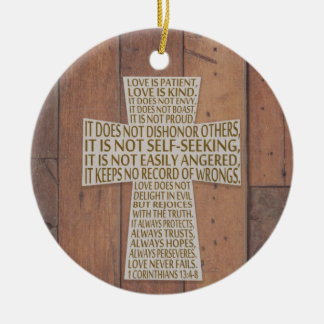 I Corinthians 13 Love Chapter Cross Rustic Christmas Ornament