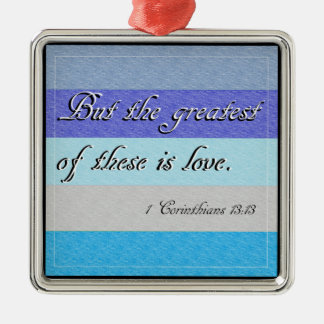 I Corinthians 13 Silver-Colored Square Decoration