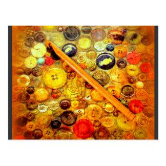 I Crochet Hook Vintage Buttons Postcard
