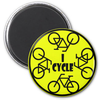 I CYCLE (BICYCLE) 6 CM ROUND MAGNET