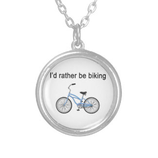 I d rather be biking - great sentiment and design necklaces