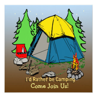 I d Rather Be Camping Customizable Invitation