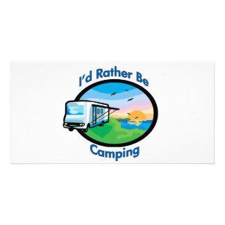 I d rather be camping photo card template