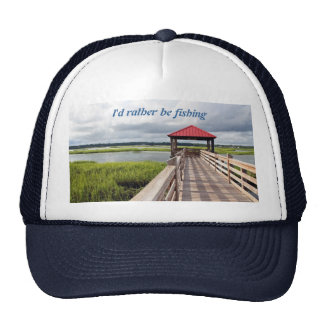 I d rather be fishing quote on two-tone ball cap mesh hats