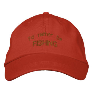 I d Rather be Fishing Tangerine Embroidered Cap Embroidered Baseball Caps