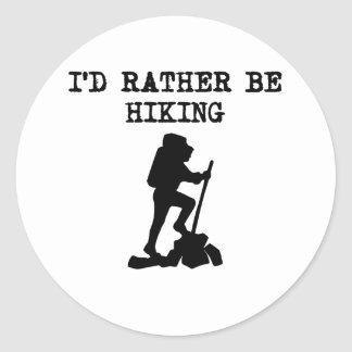 I d Rather Be Hiking Round Sticker