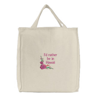 I d Rather be in Hawaii Canvas Embroidered Tote Embroidered Bag