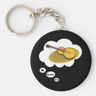 i d rather be playing Acoustic Guitar 2 Key Chain