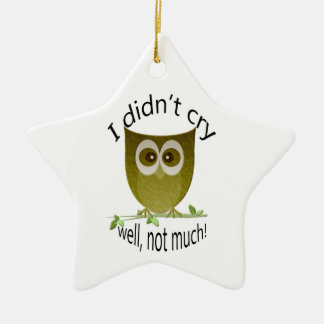 I didn't cry, well, not much! cute Owl art Christmas Ornament