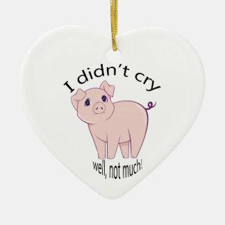 I didn't cry, well, not much! cute piggy art christmas ornament