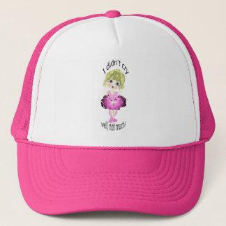 I didn't cry, well, not much! cute pink ballerina trucker hat