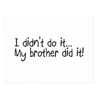 I Didnt Do It, My Brother Did It Postcard