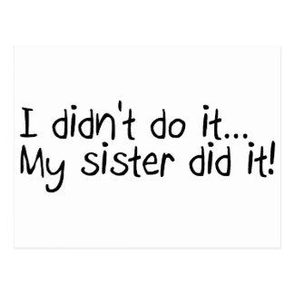 I Didnt Do It, My Sister Did It Postcard
