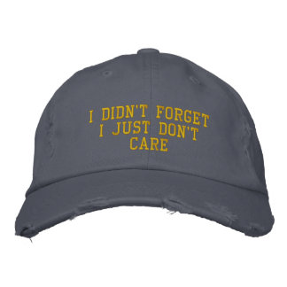 I Didn't ForgetI Just Don't Care Embroidered Baseball Caps